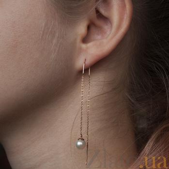 Золотые серьги-протяжки с белым жемчугом Андалусия TNG--580035б
