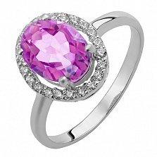 Серебряное кольцо Эйвис с синтезированным александритом и фианитами