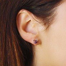 Серебряные позолоченные пуссеты Крабики с чернением, рубиновыми и черными фианитами