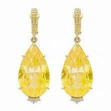 Серьги Ashkenazi из желтого золота с гелиодорами и бриллиантами