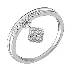 Серебряное кольцо Госпожа Удача с подвескным цветочком-клевером и фианитами в стиле Ван Клиф