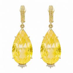 Серьги Ashkenazi из желтого золота с гелиодорами и бриллиантами 000017490