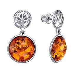 Серебряные серьги-подвески с янтарем 000146323