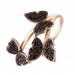 Золотое кольцо в красном цвете с черными фианитами 000104105