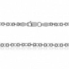 Серебряная цепь Жоржетта с родированием, 50 см