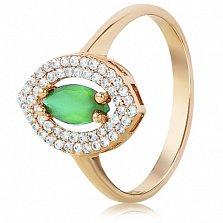 Золотое кольцо с ониксом и фианитами Есения