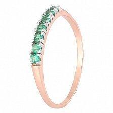 Позолоченное серебряное кольцо с зелеными фианитами Хельга