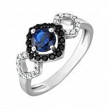 Серебряное кольцо Агнесса с сапфиром нано и фианитами