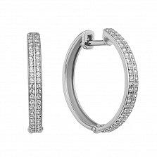 Золотые серьги-кольца Австралийка в белом цвете с кристаллами циркония
