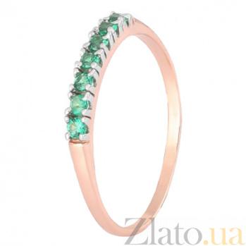 Позолоченное серебряное кольцо с зелеными фианитами Хельга 000028428