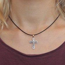 Золотой крест Спаситель с чернением