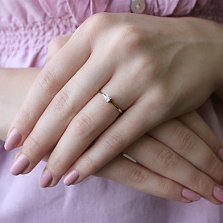 Золотое кольцо Единство в жёлтом цвете с кристаллом Swarovski