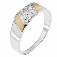 Серебряное кольцо с золотой вставкой и цирконием Прага