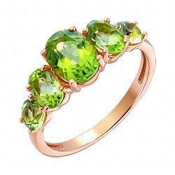 Кольцо из красного золота с хризолитами 000123313