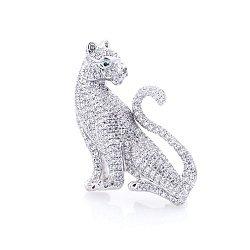 Серебряная брошь Тигр с белыми и зелеными фианитами 000069872