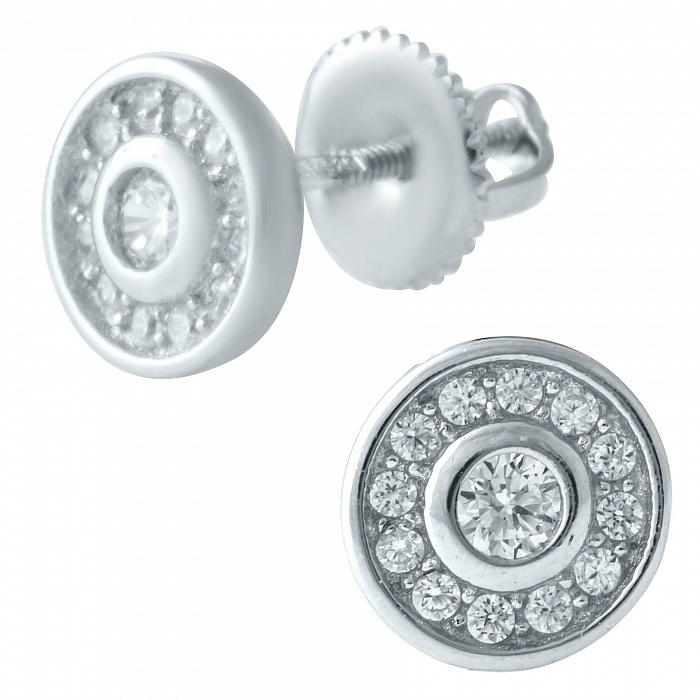 Серебряные серьги-пуссеты Ханна с фианитами 000077986