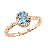 Кольцо Ирина из красного золота с бриллиантами и топазом