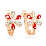 Золотые серьги с фианитами Аленький цветочек