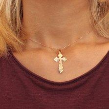 Трехуровневый золотой крестик Благодать на фигурной основе
