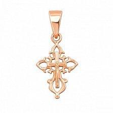 Золотой крестик Ажур в красном цвете металла