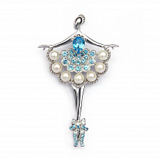 Серебряная брошка с топазами и жемчугом Балерина