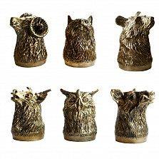 Набор бронзовых рюмок Дикие Животные в деревяной коробке, 25мл