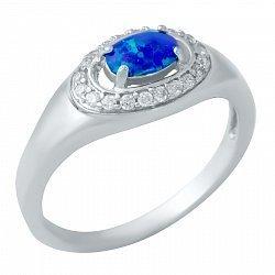 Серебряное кольцо с опалом и фианитами 000074726