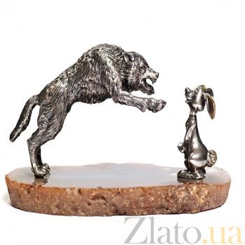 Серебряная статуэтка с позолотой Волк и заяц 1165-266