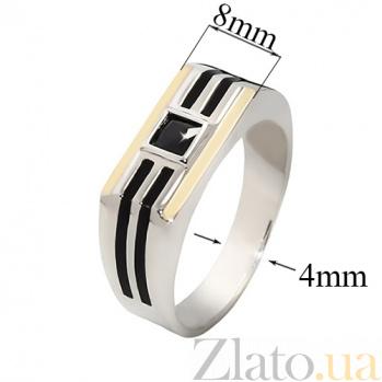 Серебряное кольцо с золотыми вставками и цирконием Жульен BGS--714к