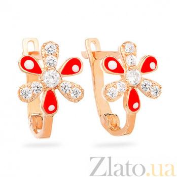 Золотые серьги с фианитами Аленький цветочек SUF--103205