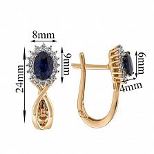 Золотые серьги с сапфирами и бриллиантами Нинет