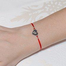 Шёлковый браслет с серебряной вставкой Сердце стопы