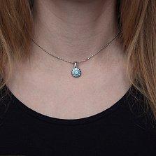 Серебряный кулон Василек с голубой эмалью и цирконием
