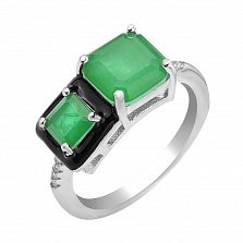 Серебряное кольцо Белинда с черной эмалью, зелеными и белыми фианитами