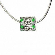 Серебряный подвес-шарм с зелёными гранатами и бриллиантами Дина