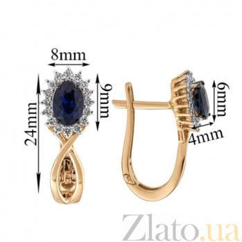 Золотые серьги с сапфирами и бриллиантами Нинет KBL--С2405/крас/сапф