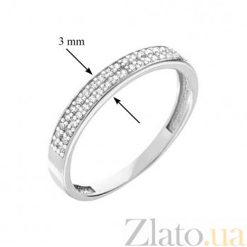 Обручальное кольцо из белого золота с фианитами Безоблачное счастье SUF--140439б