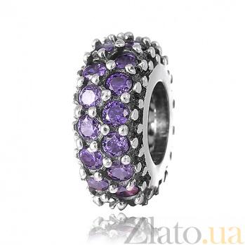 Серебряный шарм Севилья с фиолетовыми фианитами SLX--П5ФА/8055