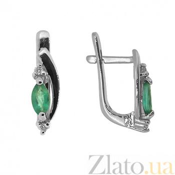 Серебряные серьги с бриллиантами и изумрудами Фаина ZMX--EDE-5571-Ag_K
