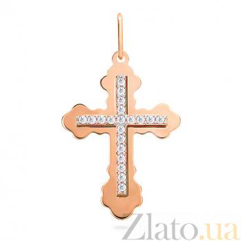 Золотой крестик с фианитами Трилистный SUF--542400