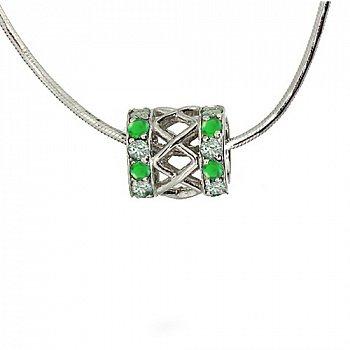 Серебряный подвес-шарм с зелёными гранатами и бриллиантами 000027309