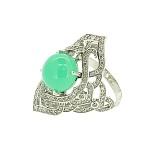 Золотое кольцо с бриллиантами и хризопразом Devi