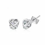 Серебряные сережки с цирконием Нежная привязанность