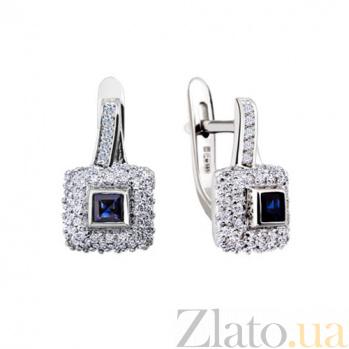 Золотые серьги с сапфирами и бриллиантами Дениза KBL--С2198/бел/сапф
