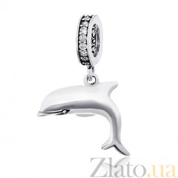 Серебряный шарм с фианитами Дельфин 000028776