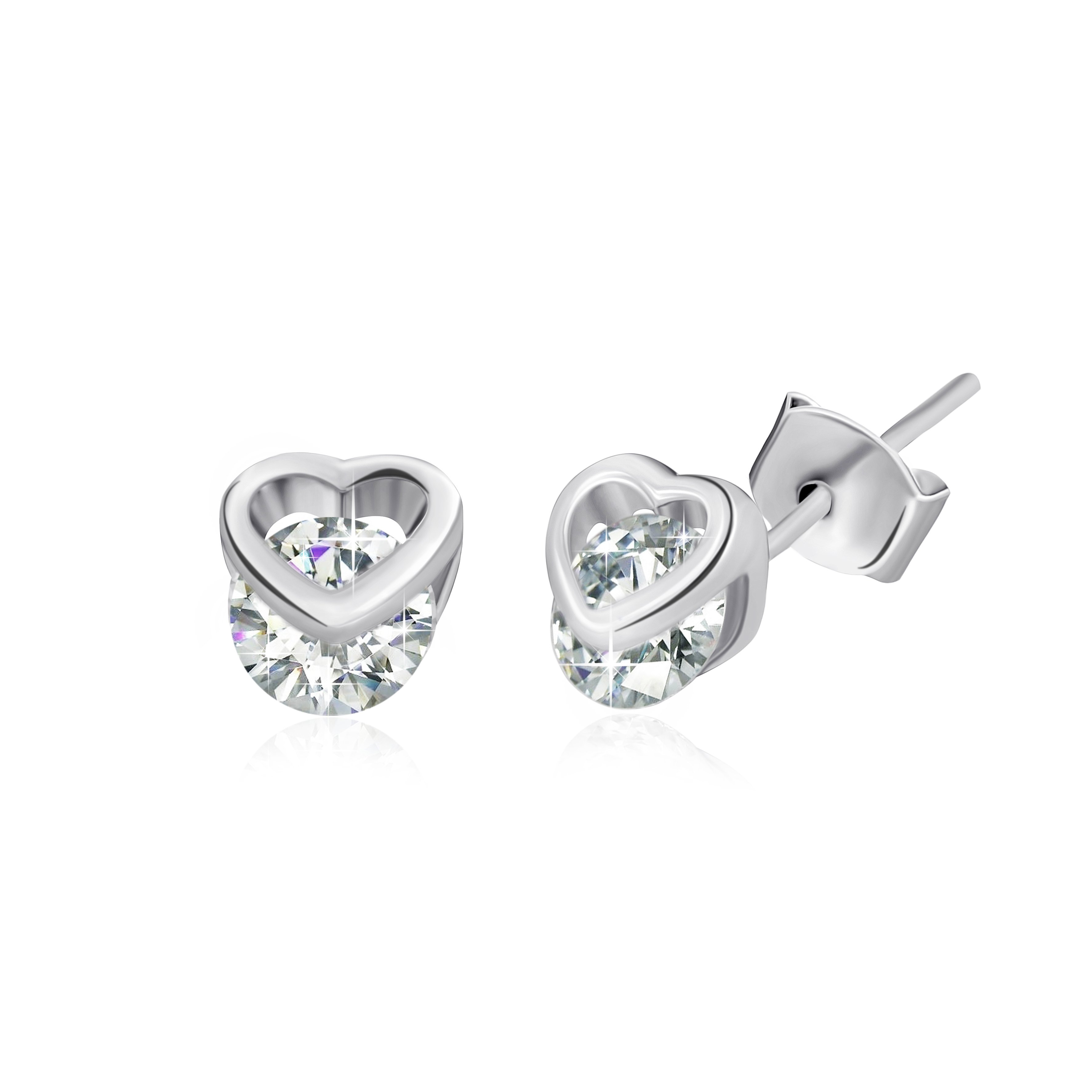 Серебряные сережки с цирконием Нежная привязанность SLX--С2Ф/494