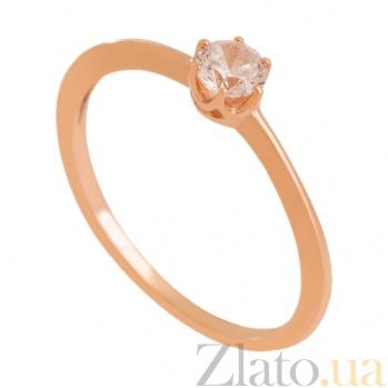 Золотое кольцо с фианитом Муза души 000024349