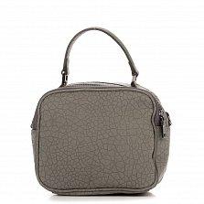 Кожаный клатч Genuine Leather 8862 серого цвета с короткой ручкой и накладным карманом