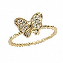 Золотое кольцо в жёлтом цвете с цирконами Батерфляй