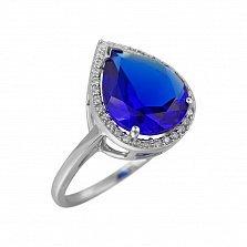 Серебряное кольцо Фаиза с ультрамариново-синим кварцем и фианитами